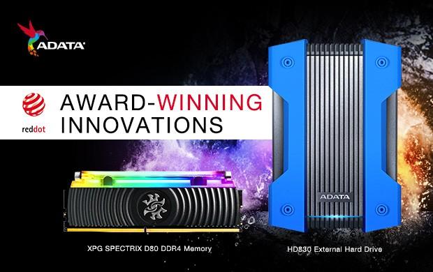 ADATA HD830 si memoriile XPG Spectrix D80 au fost premiate cu Red Dot Design Award