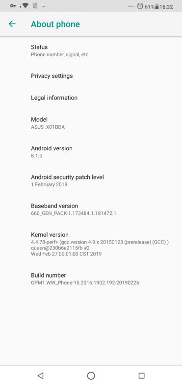 Asus Zenfone Max Pro M2 versiune android