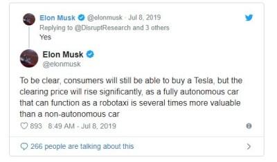 Elon Musk Tweet on selling cars