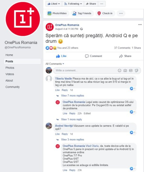 OnePlus 6 Android Q Facebbok Statement