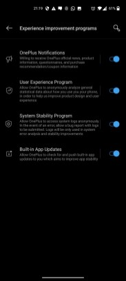 OnePlus Nord_Settings_Experience improvememnt programs