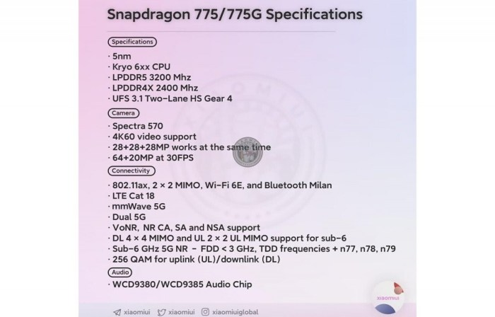 Qualcomm pregateste Snapdragon 775
