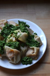 Sweet Potato Ravioli with Lemon Kale Pesto