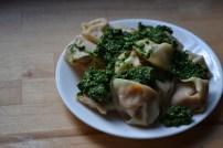 Sweet Potato Ravioli with Kale Parmesan Pesto