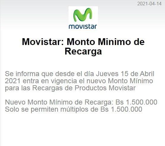 Monto mínimo de recarga Movistar abril 2021