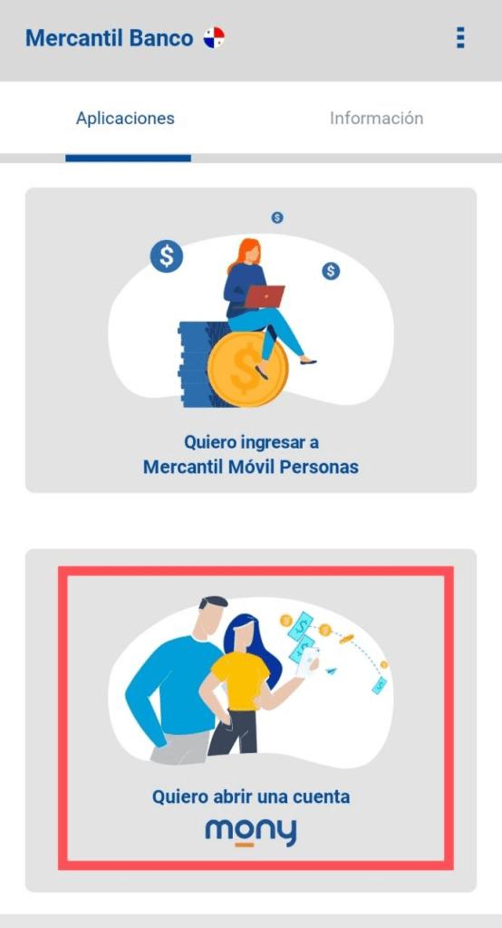 Abrir cuenta Mony mercantil Panamá desde Venezuela