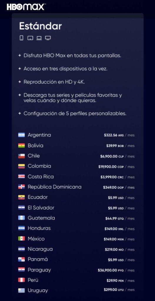 HBO Max plan estándar  Precios y países disponible