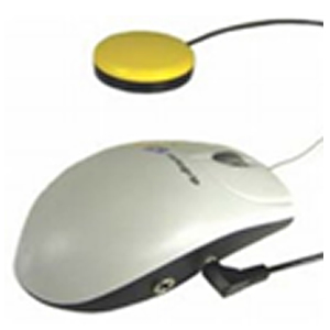 Tabla de dos columnas: en la columna de la derecha se describen algunos ejemplos de ratones convencionales adaptados para su uso con pulsadores. En la de la derecha imágenes que ilustran las descripciones]