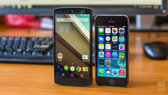 Android L ve iOS 8 Yan Yana