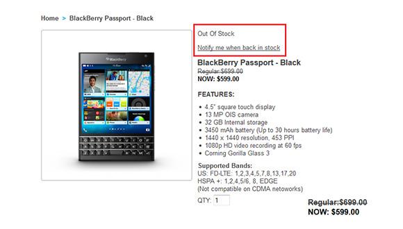 BlackBerry Passport Tükendi!
