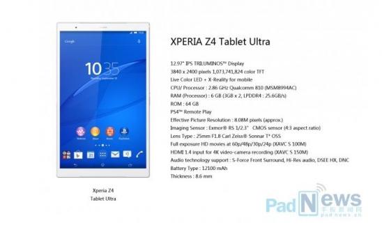13 inçlik Xperia Z4 Tablet Ultra İddiaları!