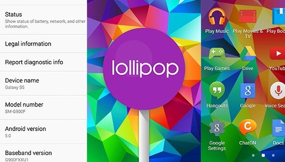 Galaxy S5 için Lollipop İngiltere'de