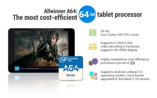 Allwinner'dan 5 Dolarlık 64 Bit İşlemci