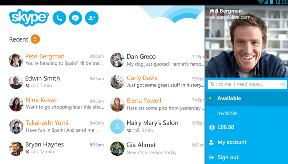 Skype Android için Güncellendi