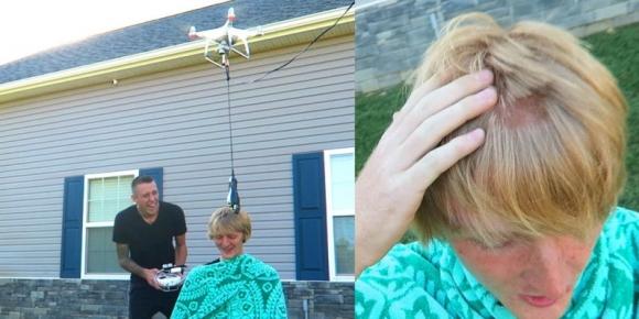 Drone ile saç tıraşı yaptılar