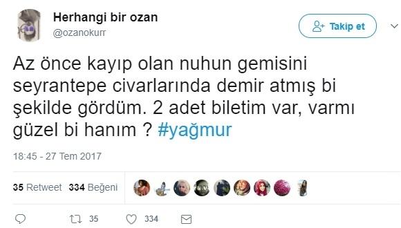 İstanbul yağmuru için atılan en komik tweet'ler!