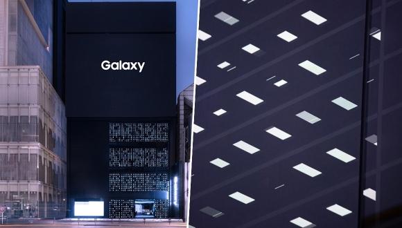 Samsung'dan telefonlar ile ışıklandırılan mağaza!