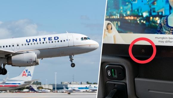 Uçak koltuğundaki kamera krizine komik çözüm!