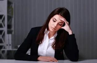 Sad woman in office