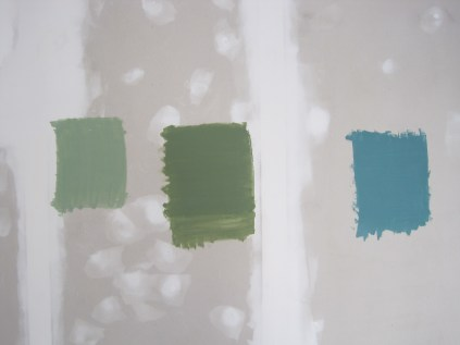 Paint samples on the wall. Eventually we chose the one on the left.