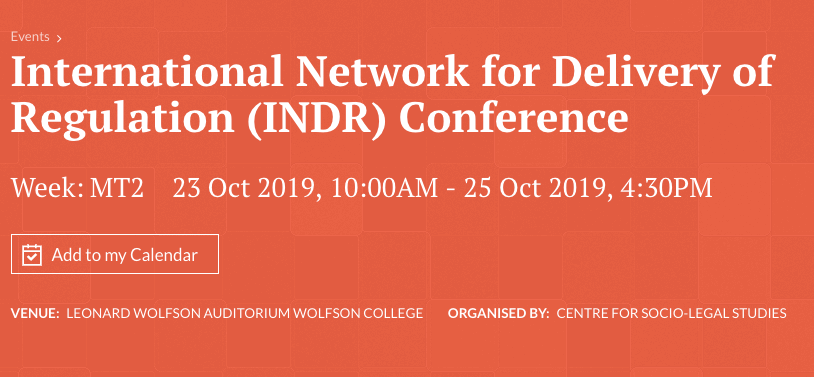 International Network for Delivery of Regulation (INDR) Conference