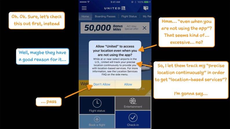 United mobile app screen