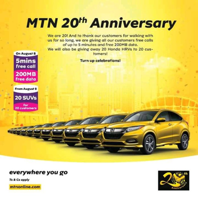 MTN Give Out Free 200mb To Celebrate 20th Anniversary Claim Yours