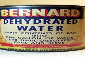 Label for Dehydrated Water