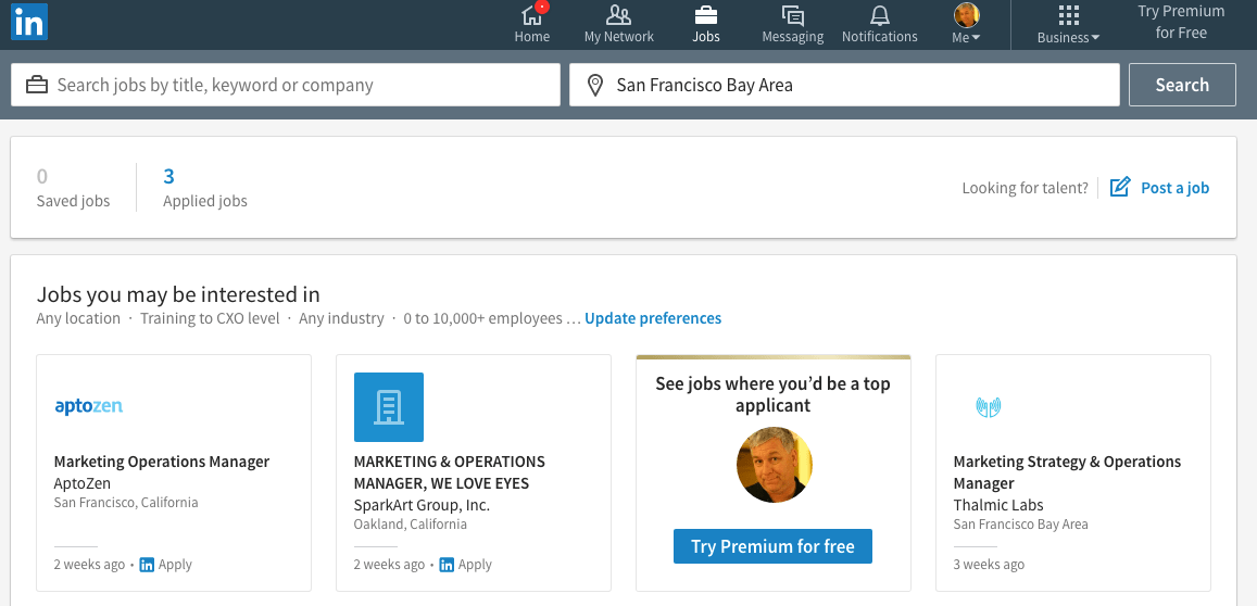 The Jobs Section on Linkedin