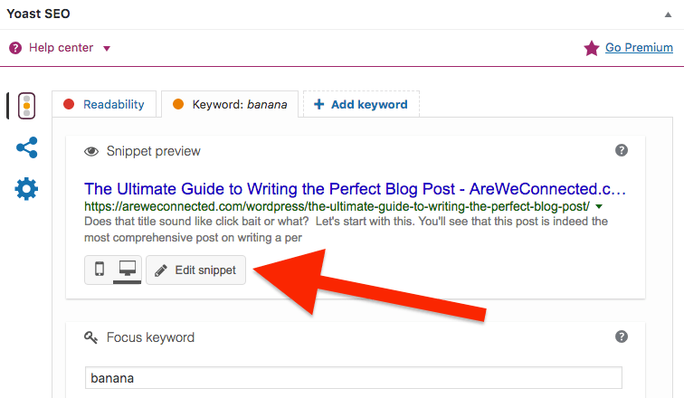 Edit snippet in Yoast