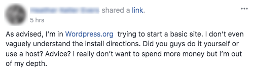 A question on Facebook about starting with WordPress