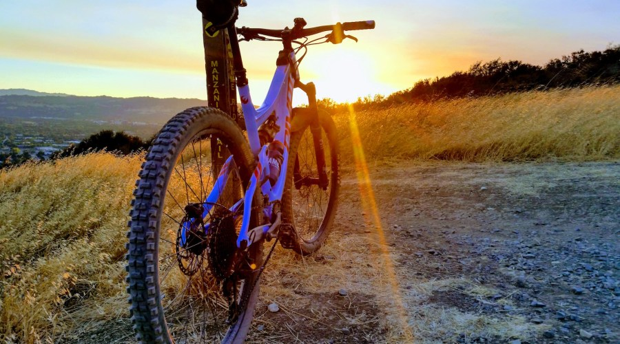 sunset mountain bike