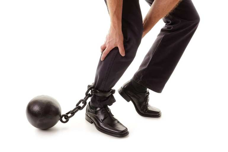 man with ball and chain