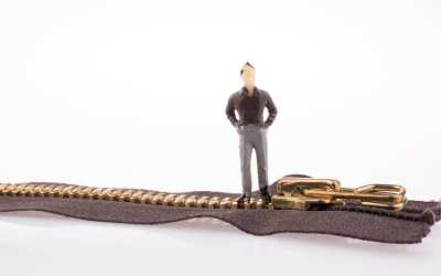 man standing on zipper
