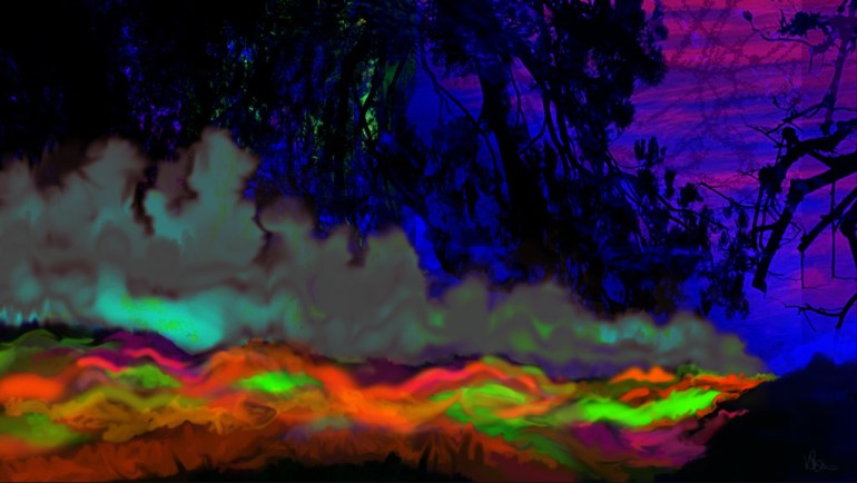 abstract painting of river of light