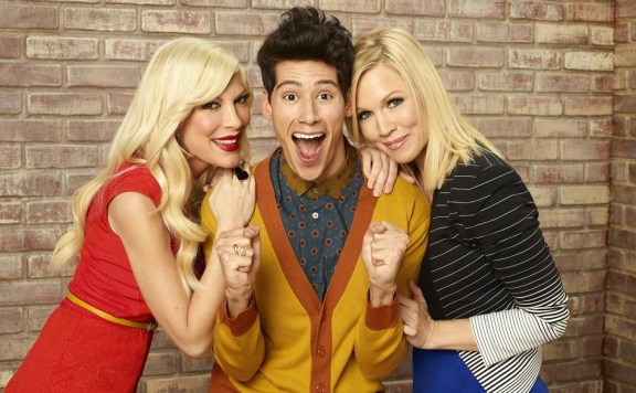 "MYSTERY GIRLS - ABC Family's ""Mystery Girls"" stars Tori Spelling as Holly, Miguel Pinzon as Nick and Jennie Garth as Charlie."
