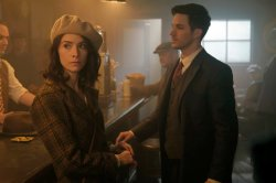 "TIMELESS -- ""Pilot"" -- Pictured: (l-r) Abigail Spencer as Lucy Preston, Matt Lanter as Wyatt Logan"