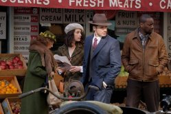 "TIMELESS -- ""Pilot"" -- Pictured: (l-r) Abigail Spencer as Lucy Preston, Matt Lanter as Wyatt Logan, Malcolm Barrett as Rufus Carlin"