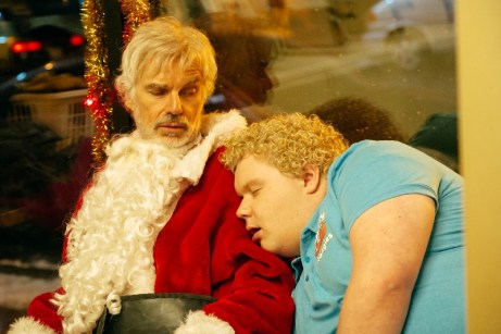 (l-r) Billy Bob Thornton stars as Willie Soke and Brett Kelly as Thurman Merman in BAD SANTA 2, a Broad Green Pictures and MIRAMAX release.