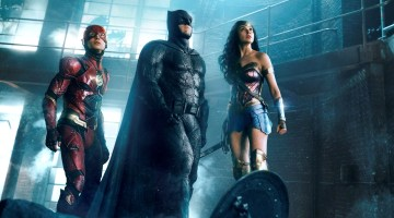 """EZRA MILLER as The Flash, BEN AFFLECK as Batman and GAL GADOT as Wonder Woman in Warner Bros. Pictures' action adventure """"JUSTICE LEAGUE,"""" a Warner Bros. Pictures release."""