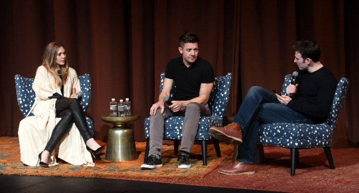 "(L-R) Elizabeth Olsen, Jeremy Renner and Chris Evans onstage at ""Wind River"" special screening at SCADShow on November 29, 2017 in Atlanta, Georgia."
