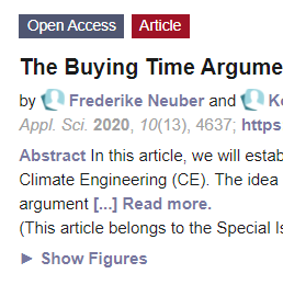 """Neuer Artikel: """"The Buying Time Argument within the Solar Radiation Management Discourse"""""""