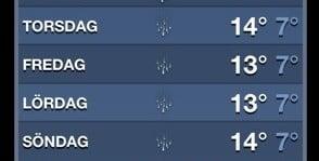 dåliga utsikter för vädret, enligt min iPhone-app