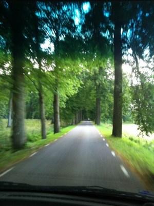 Utsikt från bilen på roadtrip på småvägar