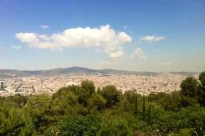 Utsikten från Castello Montjuic i Barcelona