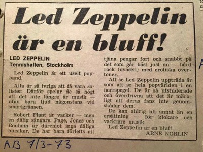 Led Zeppelin är en bluff! Recension av Arne Norlin. I kväll spelar Robert Plant på Gröna Lund.