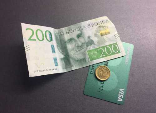 Pengar, mynt, sedel, bankkort