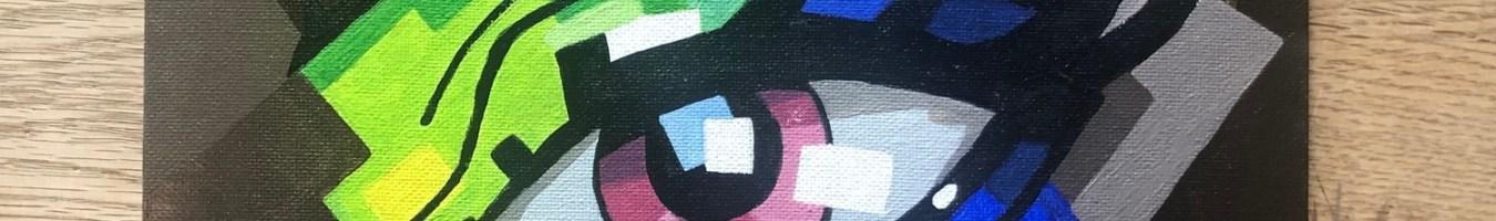 Öga i akrylfärg, A4, målning