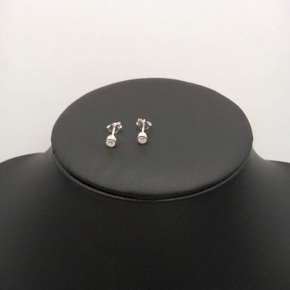 925 silver encased 3mm cz earrings