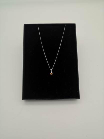 925 silver orange ccz birthstone pendant in eco friendly jewellery box
